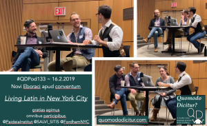 pictures from Quomodo Dicitur? podcast live audience recording at the Paideia Institute's conference Living Latin in NYC