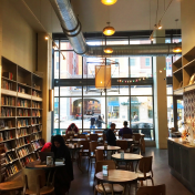 Interior of a bookstore/coffee shop